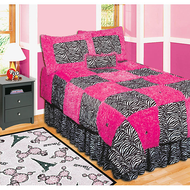 Pink zebra quilt safari bedding Zebra print bedding