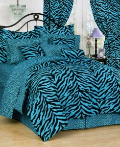 Blue and Black Zebra Print Bedding