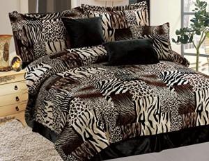 7 Piece Safari Micro Suede Faux Fur Comforter Set