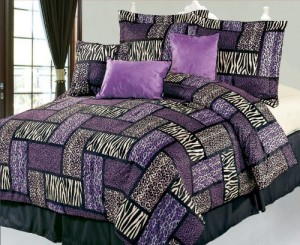 Purple and Black Safari Patchwork Comforter Set