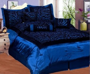Blue & Black Zebra Print Bed-in-a-Bag