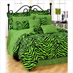Lime Green Zebra Print Bed in a Bag