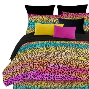 Rainbow Color Leopard Comforter Set
