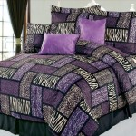 Purple and Black Patchwork Comforter Set